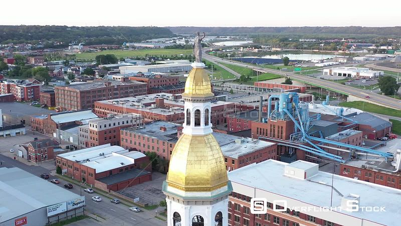 Lady Justice and the top of the courthouse, Dubuque, Iowa, USA