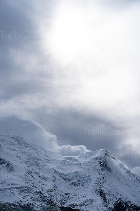 Close up of the summit of Mont Blanc and glacier