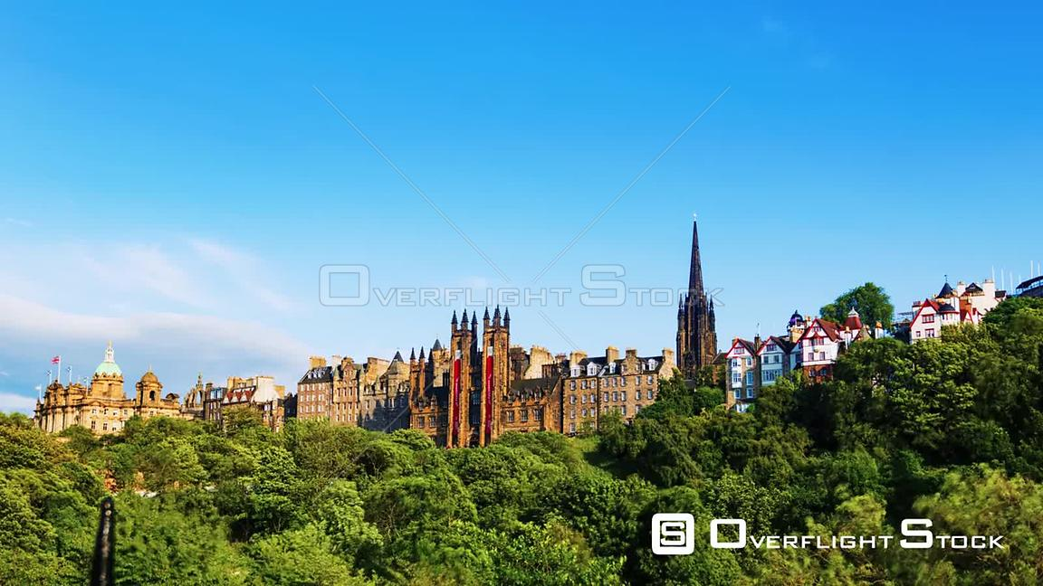 Timelapse View of the Old Town of Edinburgh Scotland from Prince Gardens