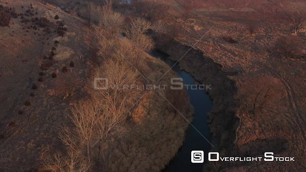 Flying over a Creek and Trees, Lincoln, Nebraska, USA