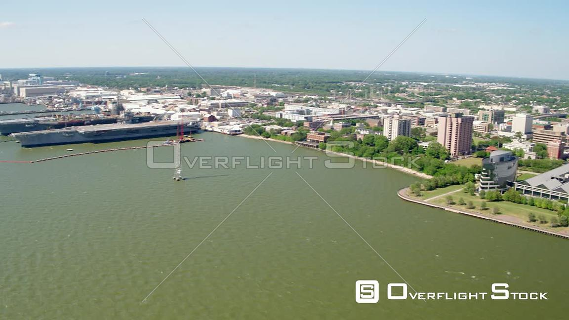 Panning Left to Right of Newport News Shipbuilding and downtown Newport News in Virginia
