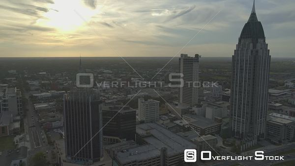 Mobile Alabama Flying over downtown area at sunset into birdseye view