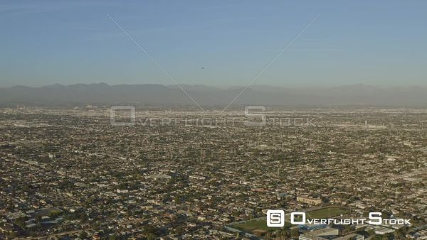 Los Angeles Panoramic cityscape view of south LA with planes