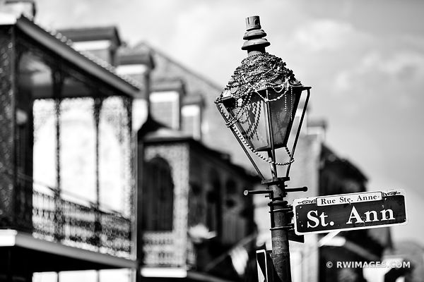 STREET LAMP WITH BEADS ST. ANN STREET FRENCH QUARTER NEW ORLEANS LOUISIANA BLACK AND WHITE