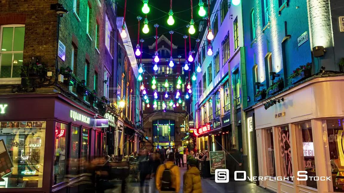 Timelapse zoom in view of famous Carnaby street in London at night