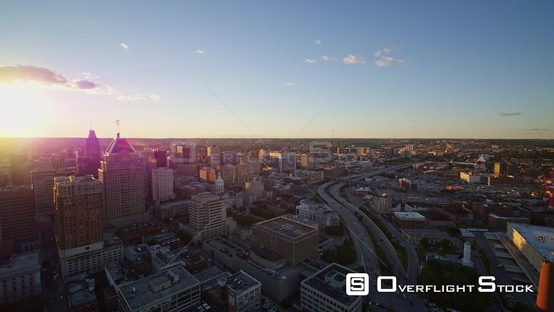 Baltimore Maryland Aerial Slow cityscape panorama with downtown and river views, panning counter clockwise
