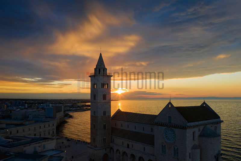 A Seagull's-eye View of the Cattedrale di Trani Basilica at Sunset