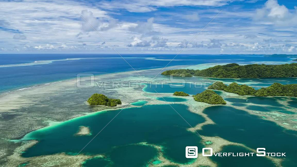Timelapse Pacific Ocean Island and Clouds Palau