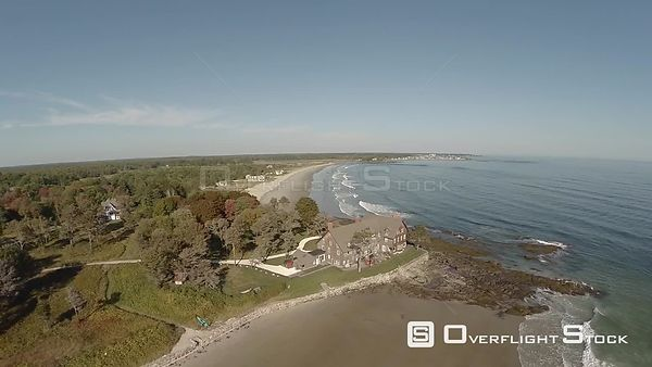 Aerial flyover of coastal home in Maine.