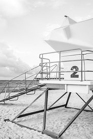 Lifeguard Tower Two Pensacola Beach Black and White Photo
