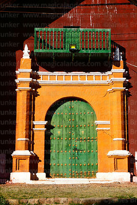 Main entrance of the church  of the Señor de la Cruz, Carabuco, La Paz Department, Bolivia