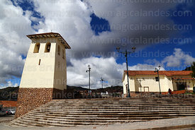 Santa Ana church and belfry, Plaza Santa Ana, Cusco, Peru