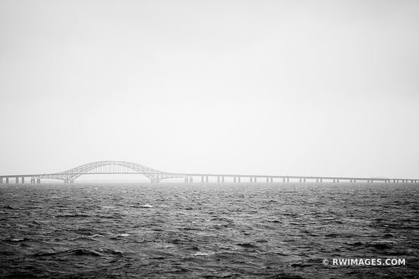 FIRE ISLAND INLET BRIDGE ROBERT MOSES CAUSEWAY LONG ISLAND NEW YORK BLACK AND WHITE
