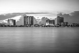 Pensacola Beach Florida Skyline Black and White Photo