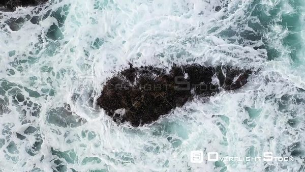 Rugged California Pacific Ocean Coastline and Surf Crashing on Rocks Drone View