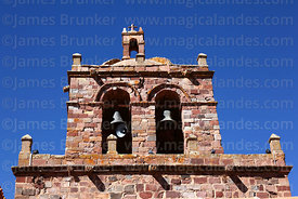 Detail of belfry of San Pedro church, Tiwanaku, La Paz Department, Bolivia