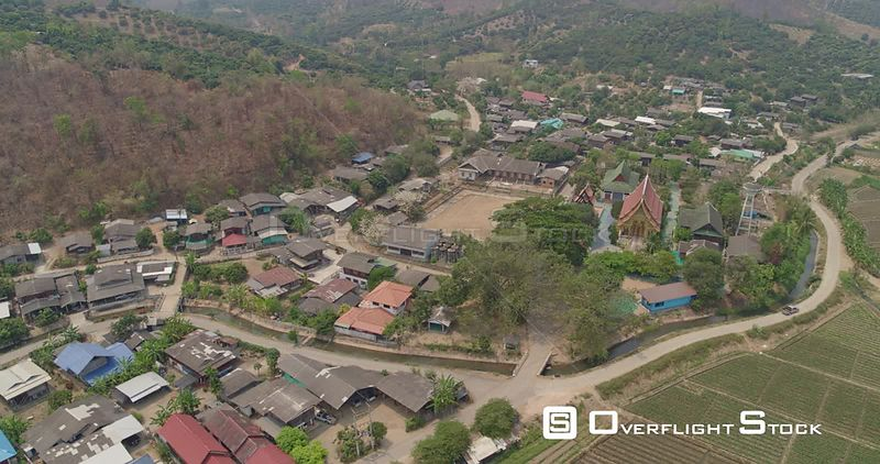 Thung Pi Thailand Aerial Panning birdseye over village