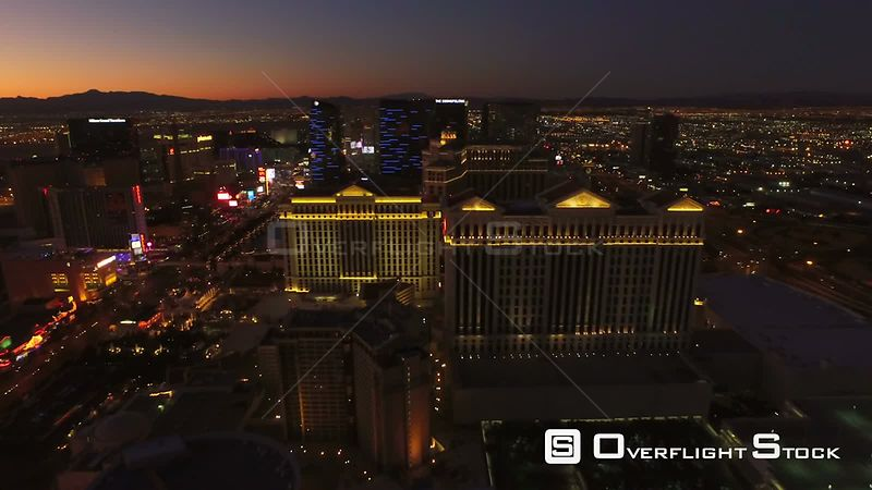 Low flying backwards aerial over strip. Las Vegas Nevada