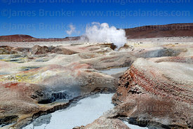 Hot mud pools at Sol de Mañana geothermal field, Eduardo Avaroa Andean Fauna National Reserve, Bolivia
