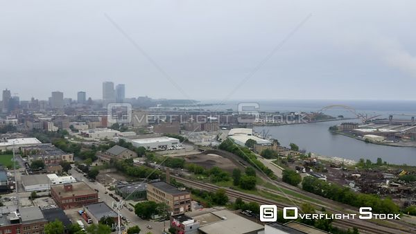 City of Milwaukee Wisconsin from Harbor View. Allen Bradley Clock Tower