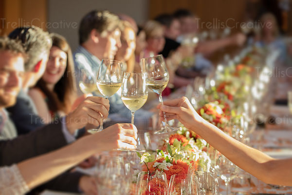 Guests raising wine glasses at formal celebration.