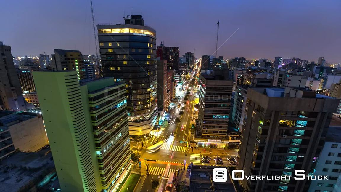 Time lapse of Lima cityscape at dusk into night. Peru