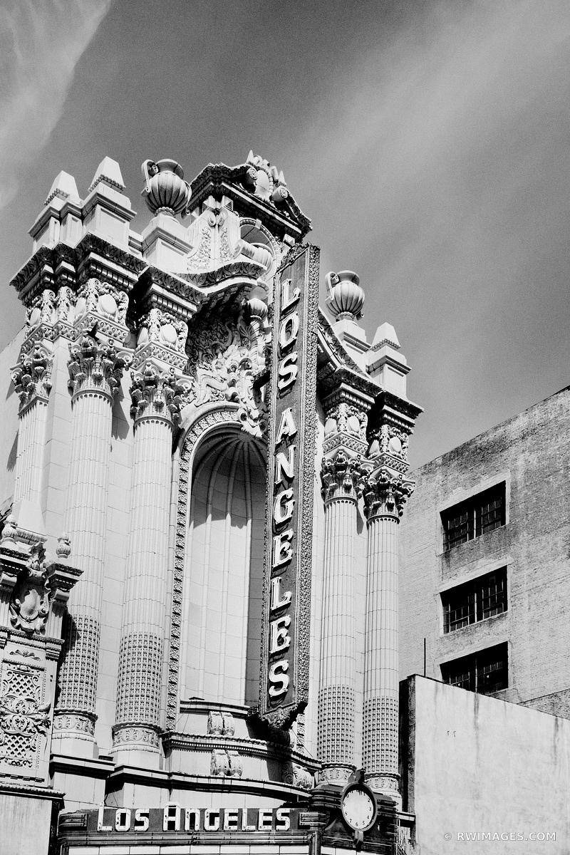 OLD LOS ANGELES THEATRE HISTORIC DOWNTOWN LOS ANGELES CALIFORNIA BLACK AND WHITE VERTICAL
