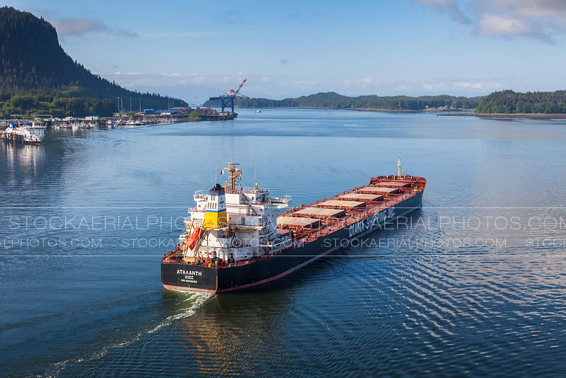 Cargo ship departing the Port of Prince Rupert