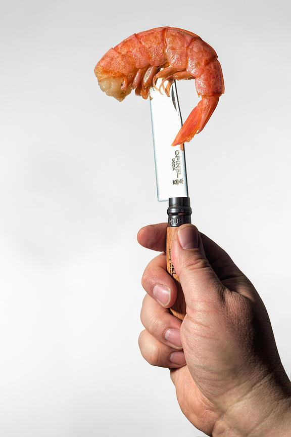 Montreal Food photographer, shrimp on a knife, commercial photography, south shore