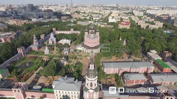 Pass Over Novodevicheskyi Monastery During Early Sunset. Moscow Russia Drone Video View