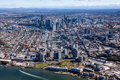 Aerial view of Newstead in Brisbane, Queensland, Australia.