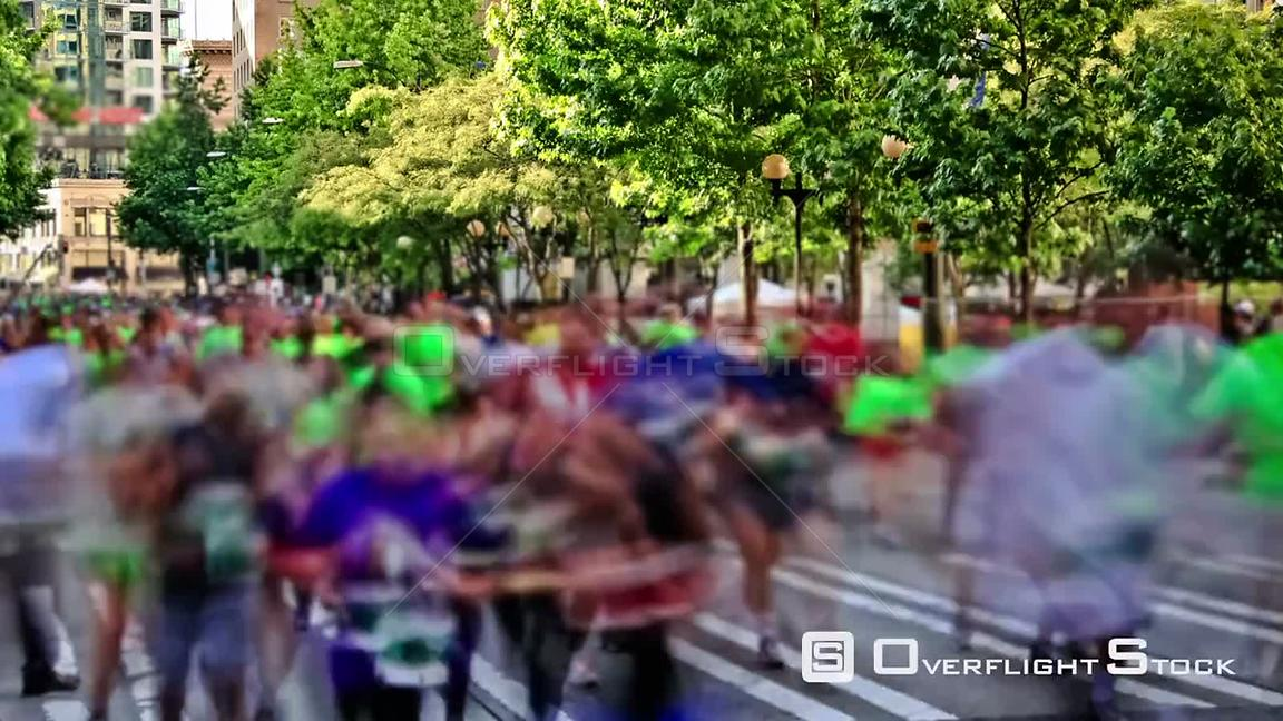 Seattle Washington State USA Time lapse clip of marathon runners passing by using a photo effect