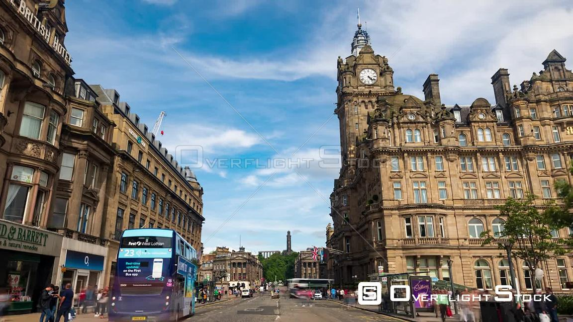Princes Street and Calton Hill in Edinburgh New Town Scotland