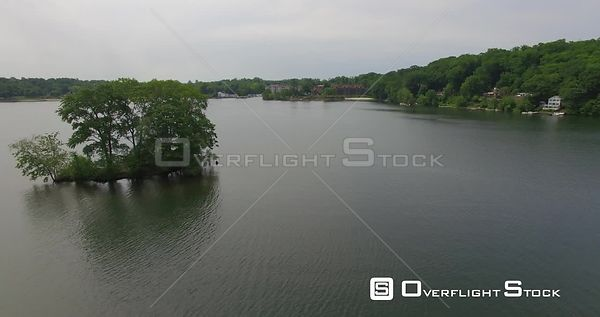 Lower Pine Cove Lake Danbury Connecticut Drone View