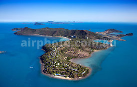 Aerial view of Hamilton Island, Whitsundays, Queensland.