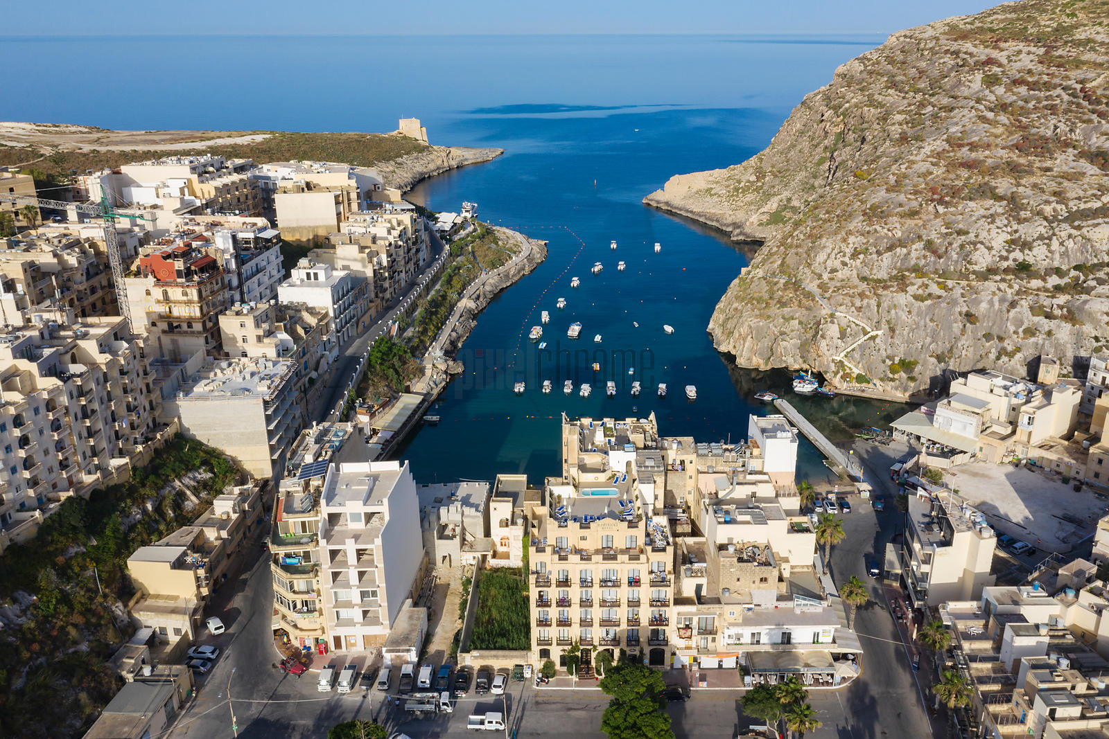 Aerial View of Xlendi Bay and the Town of Xlendi
