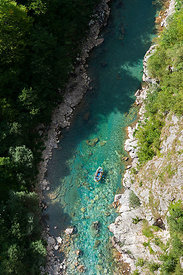 Aerial View Down the Tara River Canyon Gorge from Tara Bridge, Looking at Rafters in a Raft Montenegro