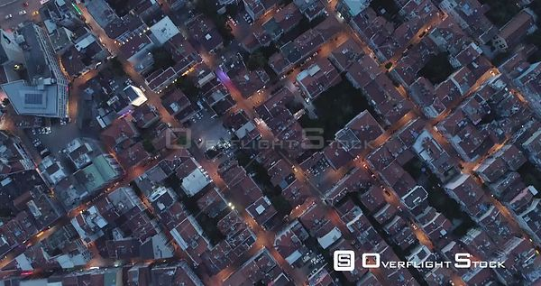 Birds Eye Aerial View at Night of Kadikoy Turkey