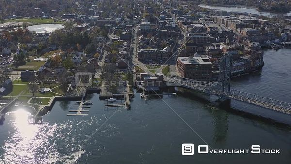 Portsmouth New Hampshire Downtown birdseye fly over