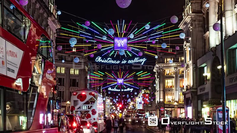 Time lapse view of Christmas lights and decoration in Oxford street in London