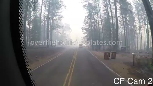 Camp Fire Post Fire Smoke  Paradise California USA - Center Front View Driving Plate Cam19 Feb 15, 2019