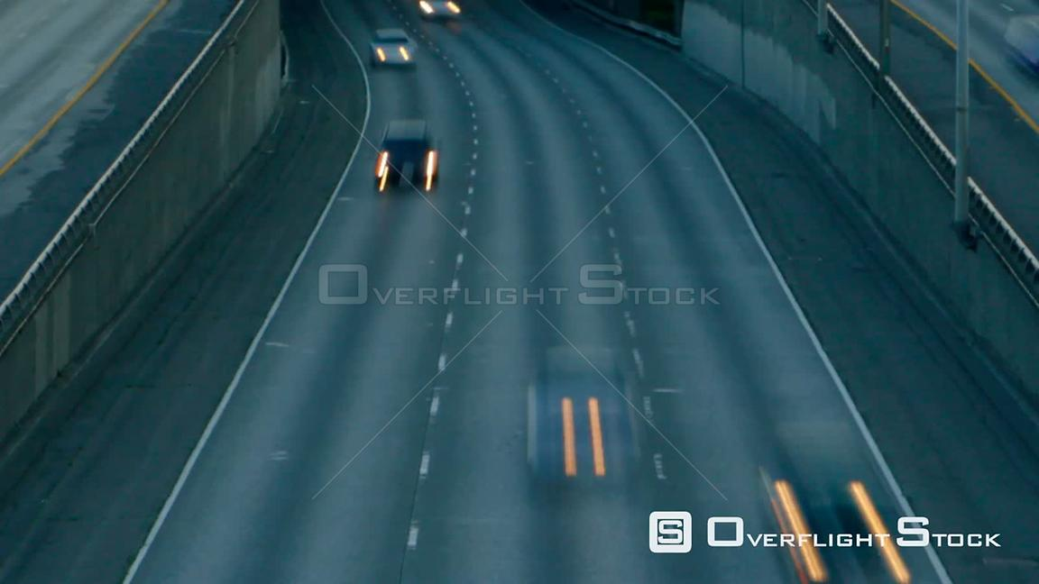 Seattle Washington State USA Interstate 5 Southbound facing traffic time lapse.