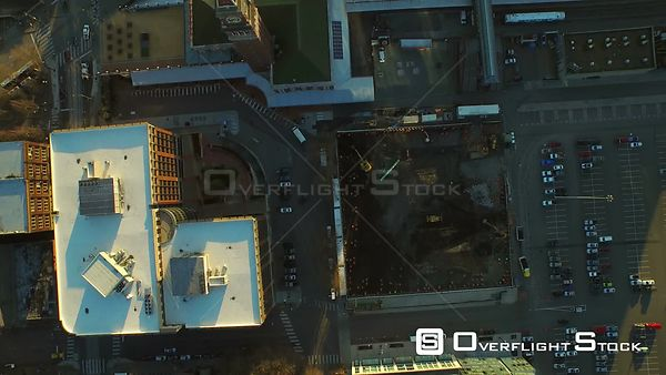 Seattle Washington State USA Flying low vertical shot looking down over train station and Chinatown area