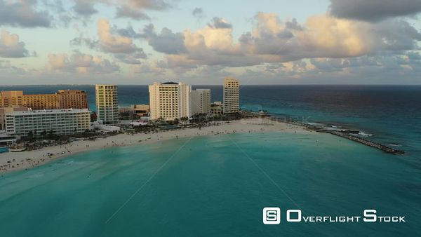 Drone Aerial View Seaside Hotel Zone Cancun Mexico
