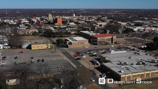 Downtown Buildings, Streets and Traffic, Corsicana, Texas, USA