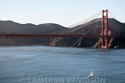 Golden Gate Bridge with sailbaot