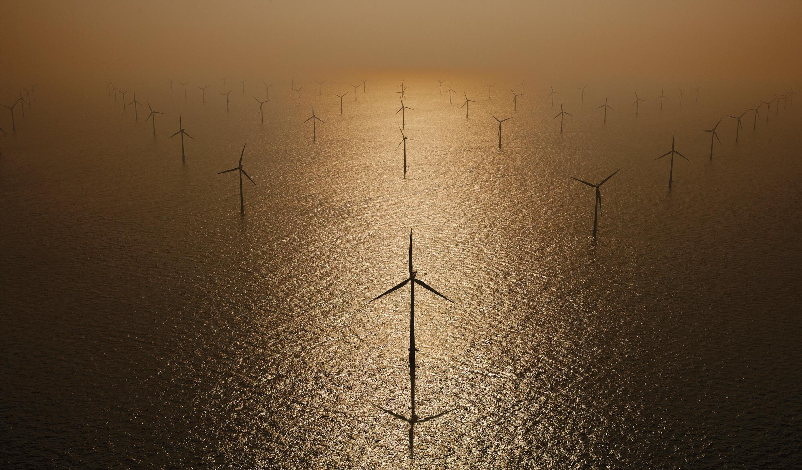 Aerial photograph of North Sea Wind farm