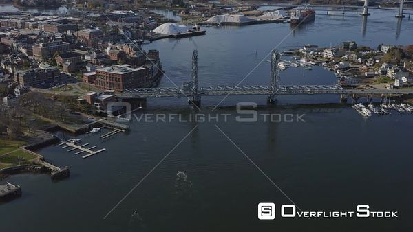 Portsmouth New Hampshire Panning birdseye of downtown