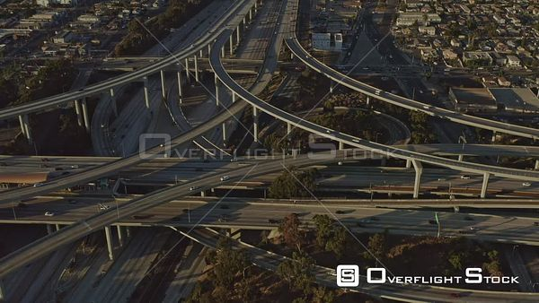 Los Angeles Panning birdseye detail of 105 110 freeway interchange