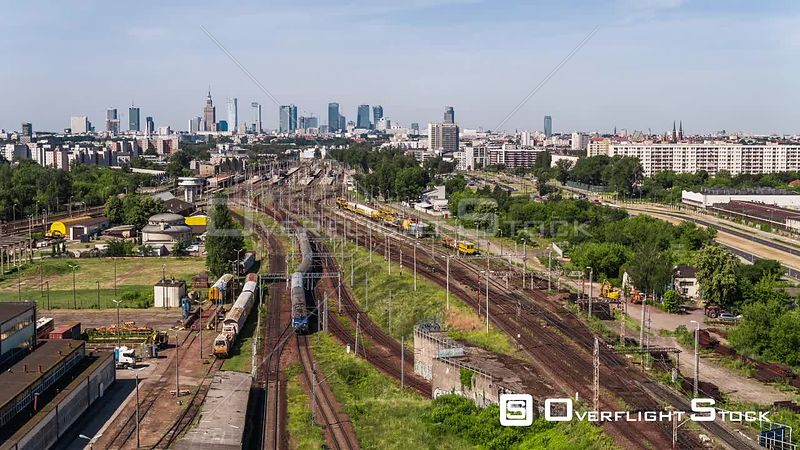 Drone Video Train Station Warsaw Poland